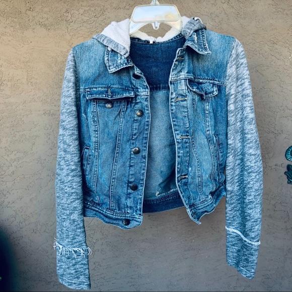 Free people distressed Jean jacket with hoodie